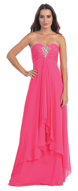 Image of Strapless Rhinestone Bust Long Formal Bridesmaid Dress  in Fuchsia