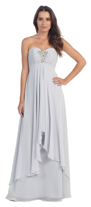 Image of Strapless Rhinestone Bust Long Formal Bridesmaid Dress  in Silver