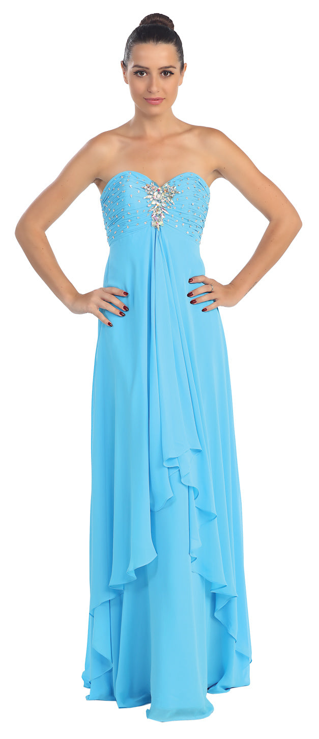 Image of Strapless Rhinestone Bust Long Formal Bridesmaid Dress  in Turquoise