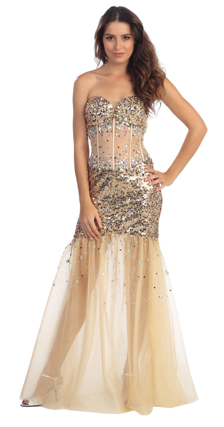 Image of Strapless Sequins & Beads Floor Length Formal Prom Dress  in Champaign