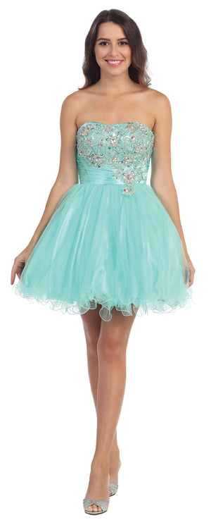 Image of Strapless Rhinestones Bust Short Tulle Party Dress in Mint