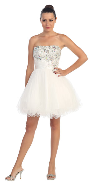 Image of Strapless Rhinestones Bust Short Tulle Party Dress in White