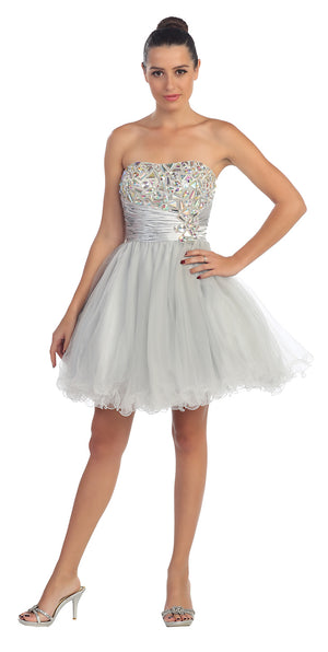 Image of Strapless Rhinestones Bust Short Tulle Party Dress in Silver