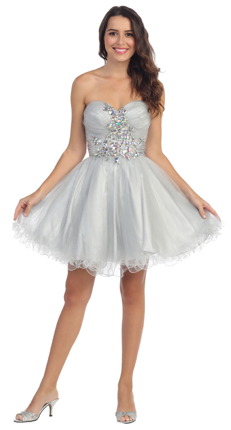 Main image of Strapless Rhinestones Bust Short Tulle Party Dress