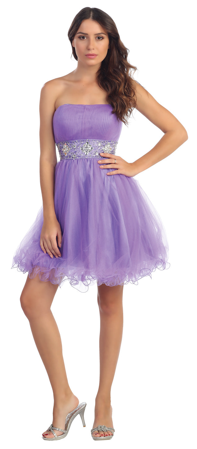 Image of Strapless Pleated Rhinestone Waist Short Party Dress  in Lavender
