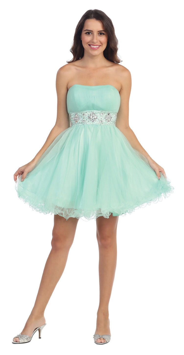 Main image of Strapless Pleated Rhinestone Waist Short Party Dress