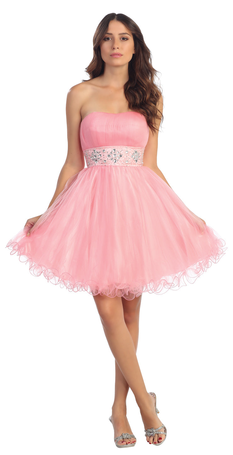 Image of Strapless Pleated Rhinestone Waist Short Party Dress  in Pink