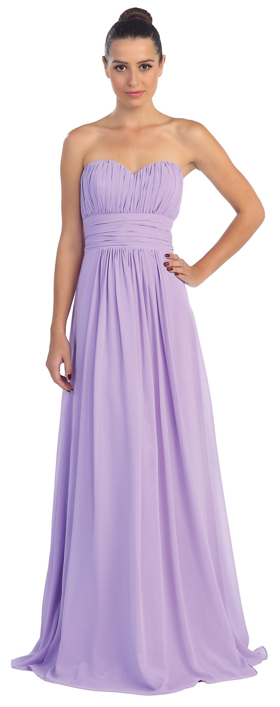 Main image of Strapless Shirred Bust Long Formal Bridesmaid Dress
