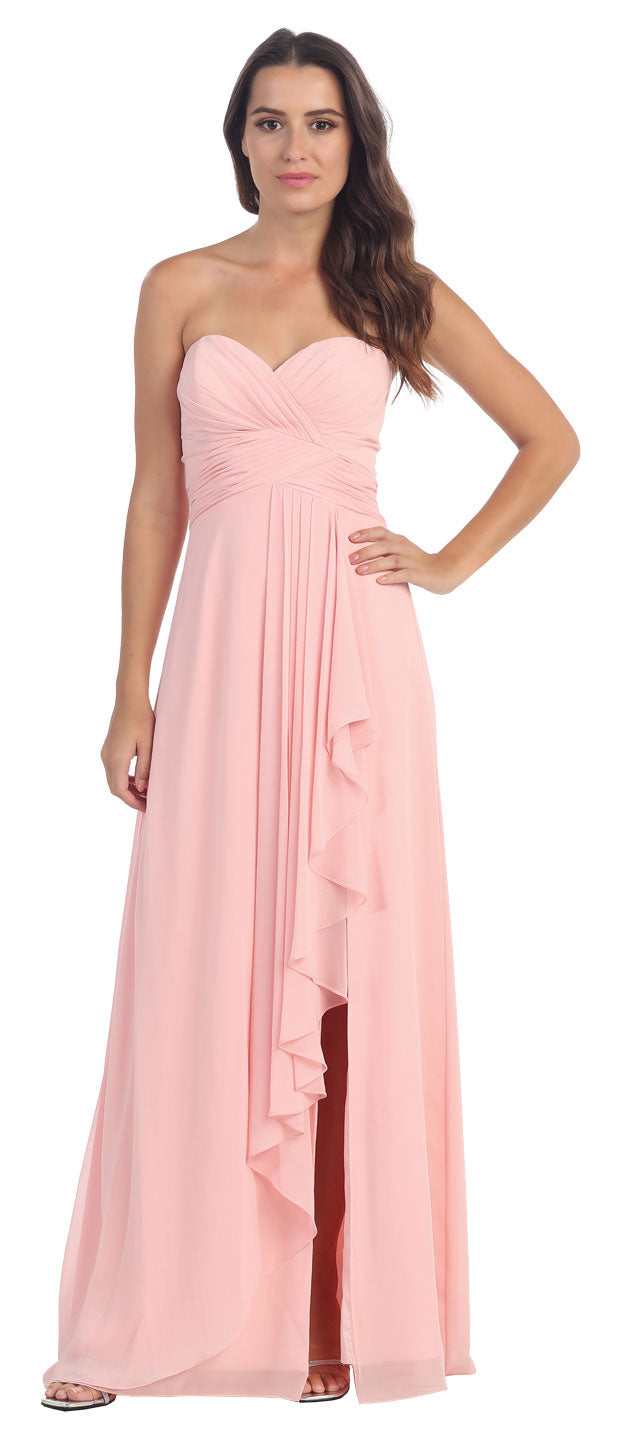 Image of Strapless Pleated & Ruffled Long Bridesmaid Dress  in Blush
