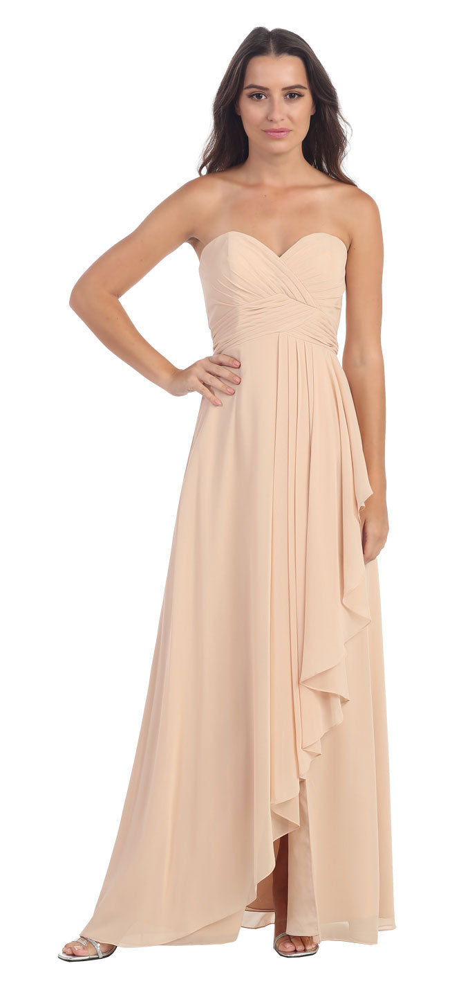 Image of Strapless Pleated & Ruffled Long Bridesmaid Dress  in Champaign