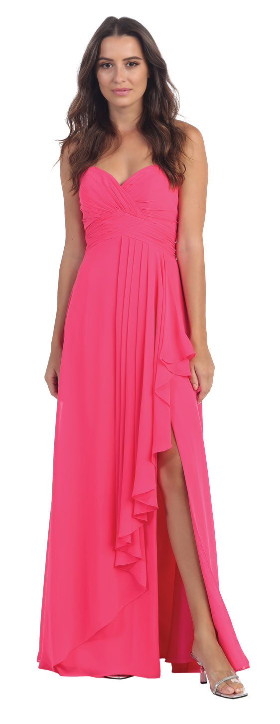 Main image of Strapless Pleated & Ruffled Long Bridesmaid Dress