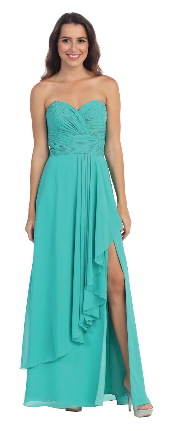 Image of Strapless Pleated & Ruffled Long Bridesmaid Dress  in Jade Green