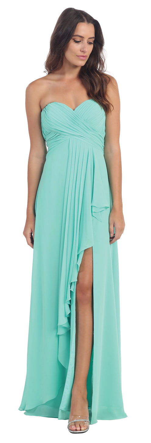 Image of Strapless Pleated & Ruffled Long Bridesmaid Dress  in Mint