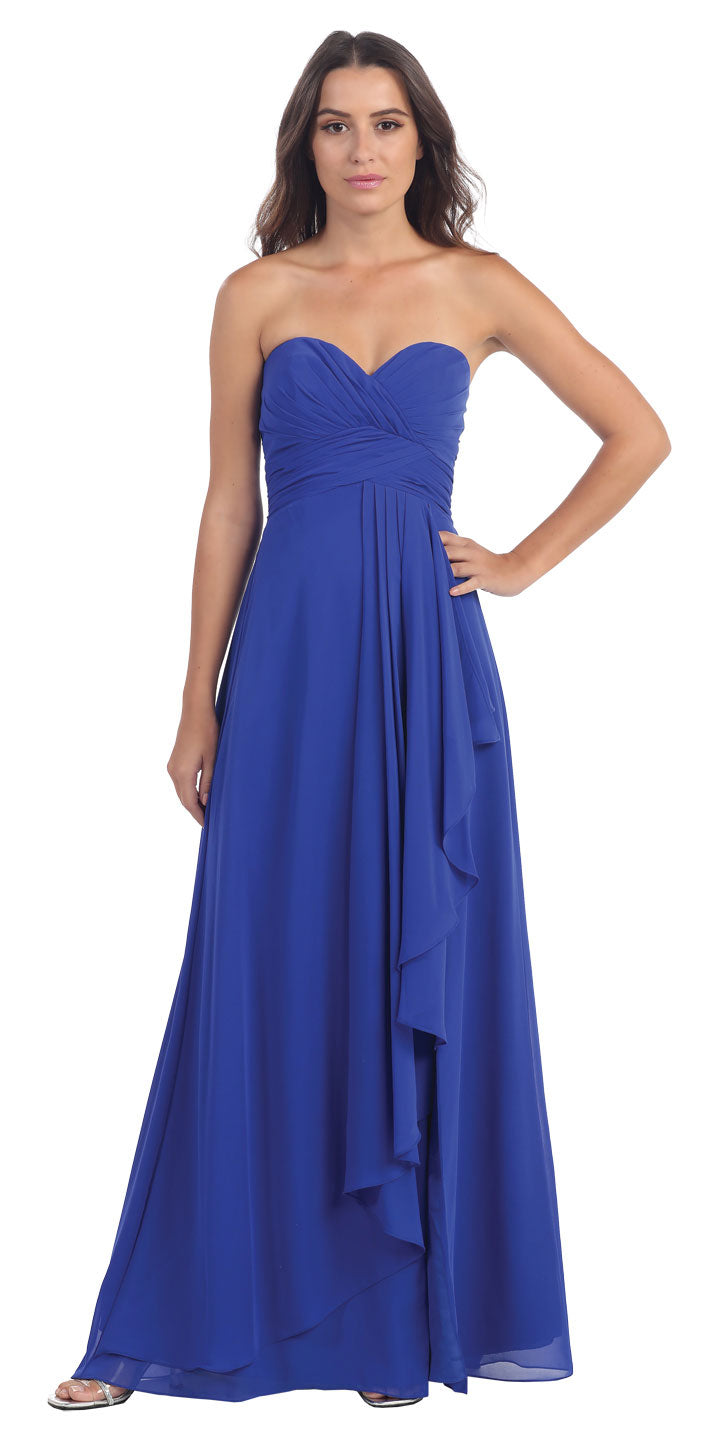 Image of Strapless Pleated & Ruffled Long Bridesmaid Dress  in Royal Blue