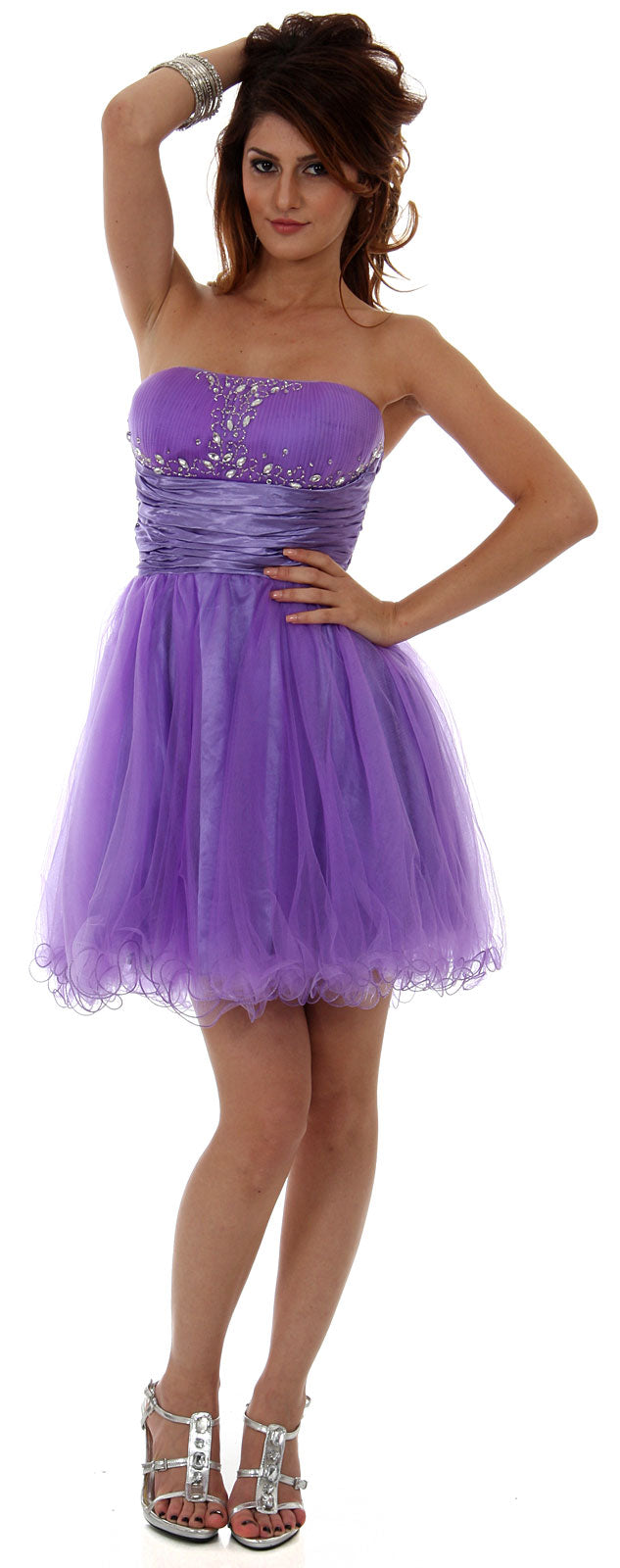 Image of Strapless Mesh Short Party Dress With Beaded Bust in Lavender