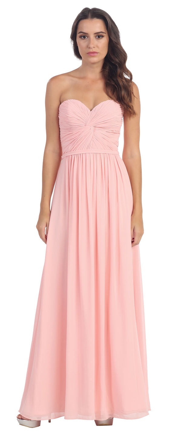 Main image of Strapless Twist Knot Bust Long Formal Bridesmaid Dress