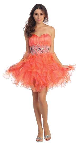 Image of Strapless Rhinestone Waist Ruffled Short Party Prom Dress in Coral