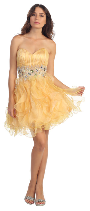 Image of Strapless Rhinestone Waist Ruffled Short Party Prom Dress in Gold