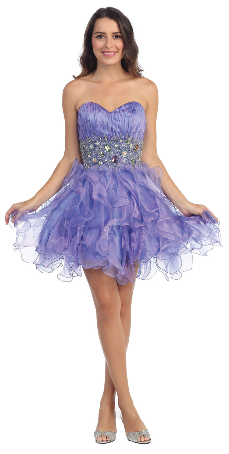 Main image of Strapless Rhinestone Waist Ruffled Short Party Prom Dress