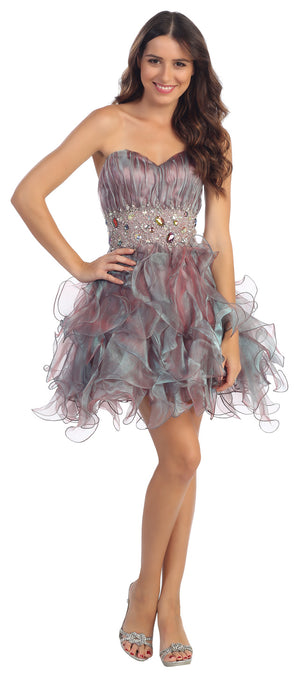 Image of Strapless Rhinestone Waist Ruffled Short Party Prom Dress in Teal