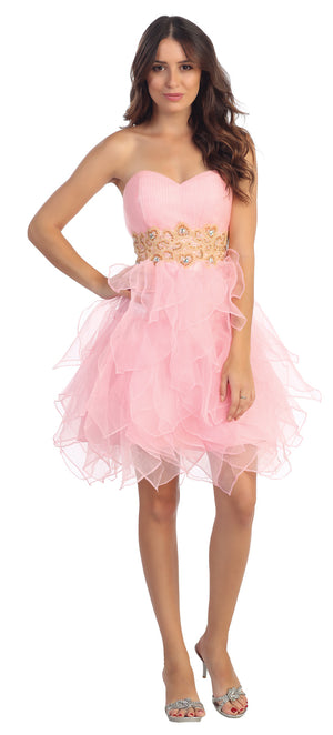 Image of Strapless Layered Skirt Organza Short Party Dress in Pink