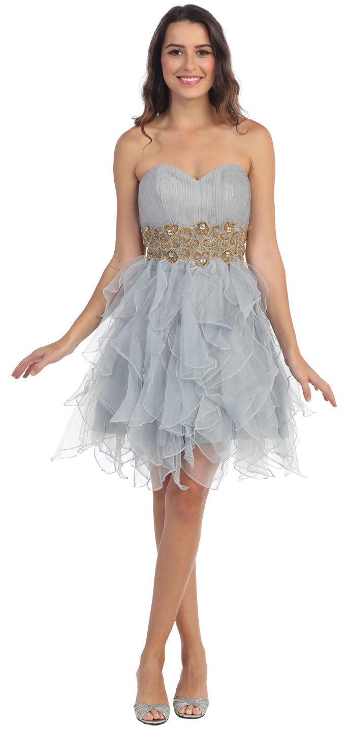 Main image of Strapless Layered Skirt Organza Short Party Dress