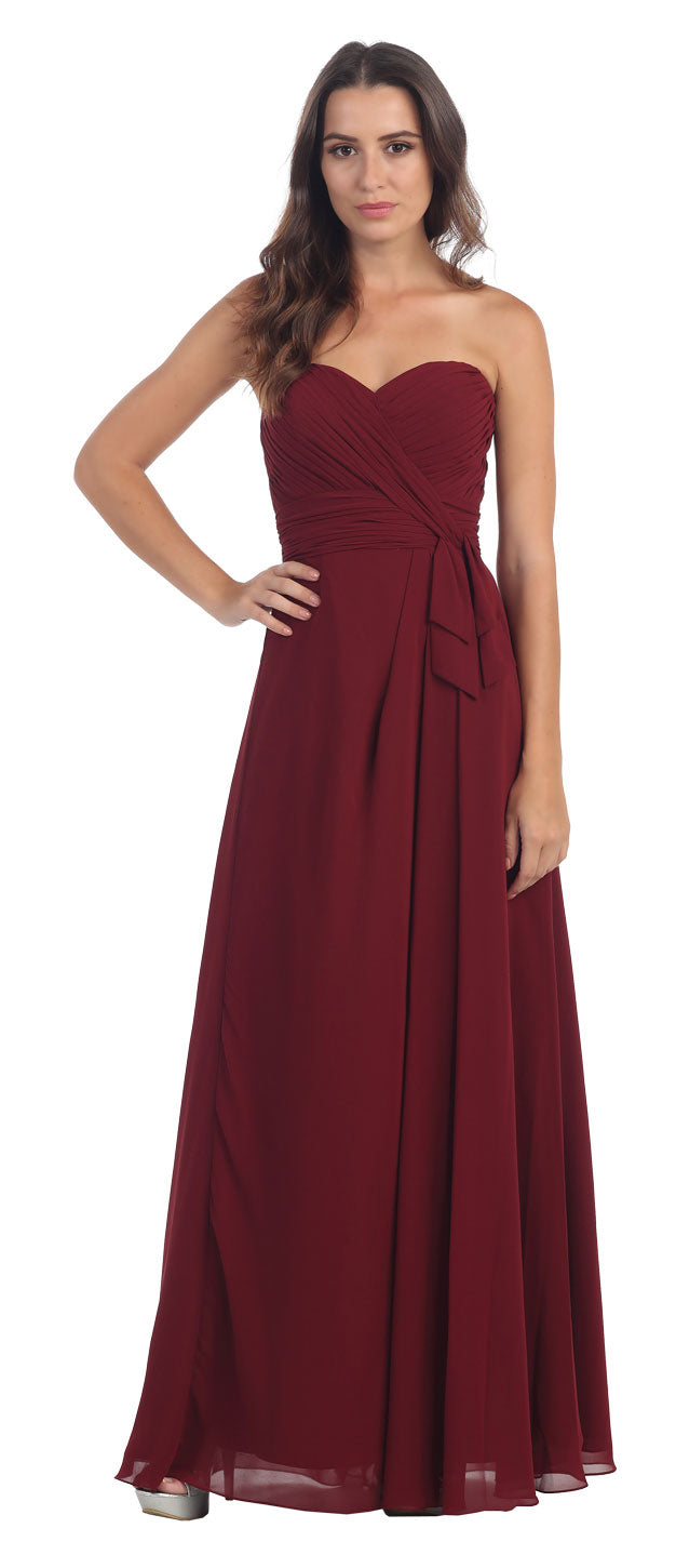Main image of Strapless Pleated Bust Long Formal Bridesmaid Dress