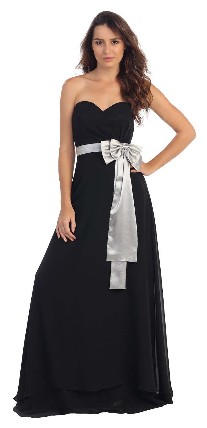 Image of Strapless Bow Accent Long Formal Bridesmaid Dress in Black
