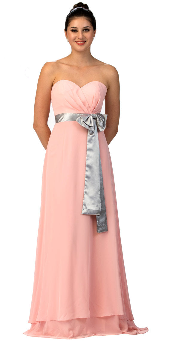 Main image of Strapless Bow Accent Long Formal Bridesmaid Dress