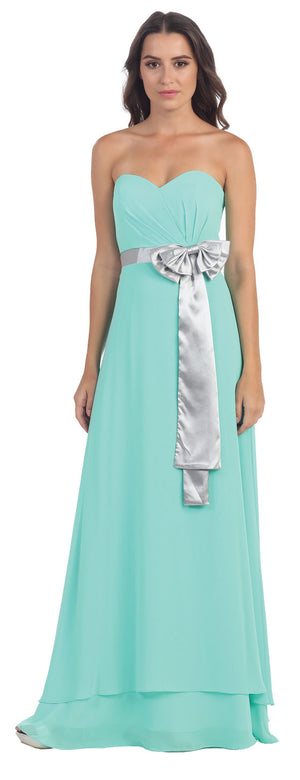 Image of Strapless Bow Accent Long Formal Bridesmaid Dress in Mint