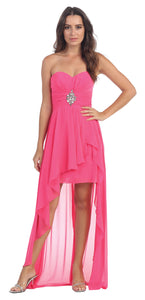 Main image of Strapless Hi-low Overlay Short Formal Party Dress