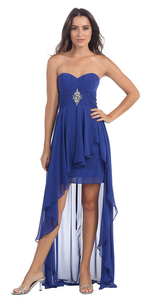 Image of Strapless Hi-low Overlay Short Formal Party Dress  in Royal Blue