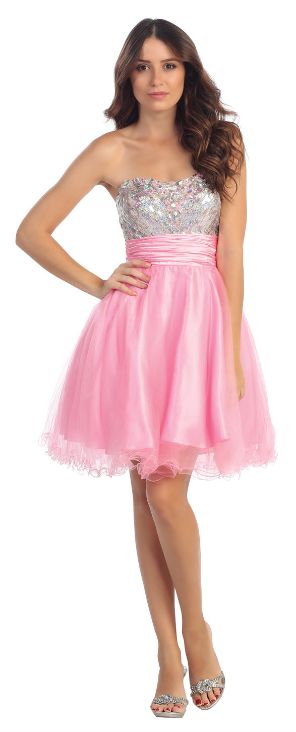 Main image of Strapless Sequins Bust Tulle Short Homecoming Party Dress