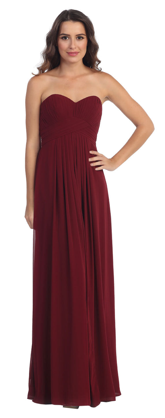 Image of Strapless Pleated Bodice Long Formal Bridesmaid Dress in Burgundy