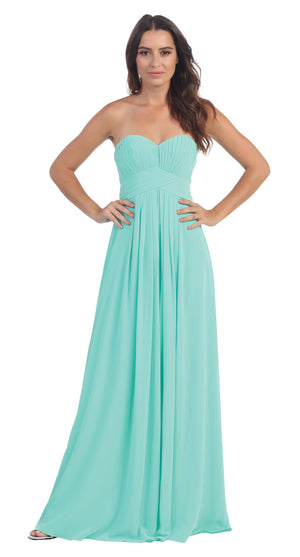 Image of Strapless Pleated Bodice Long Formal Bridesmaid Dress in Mint