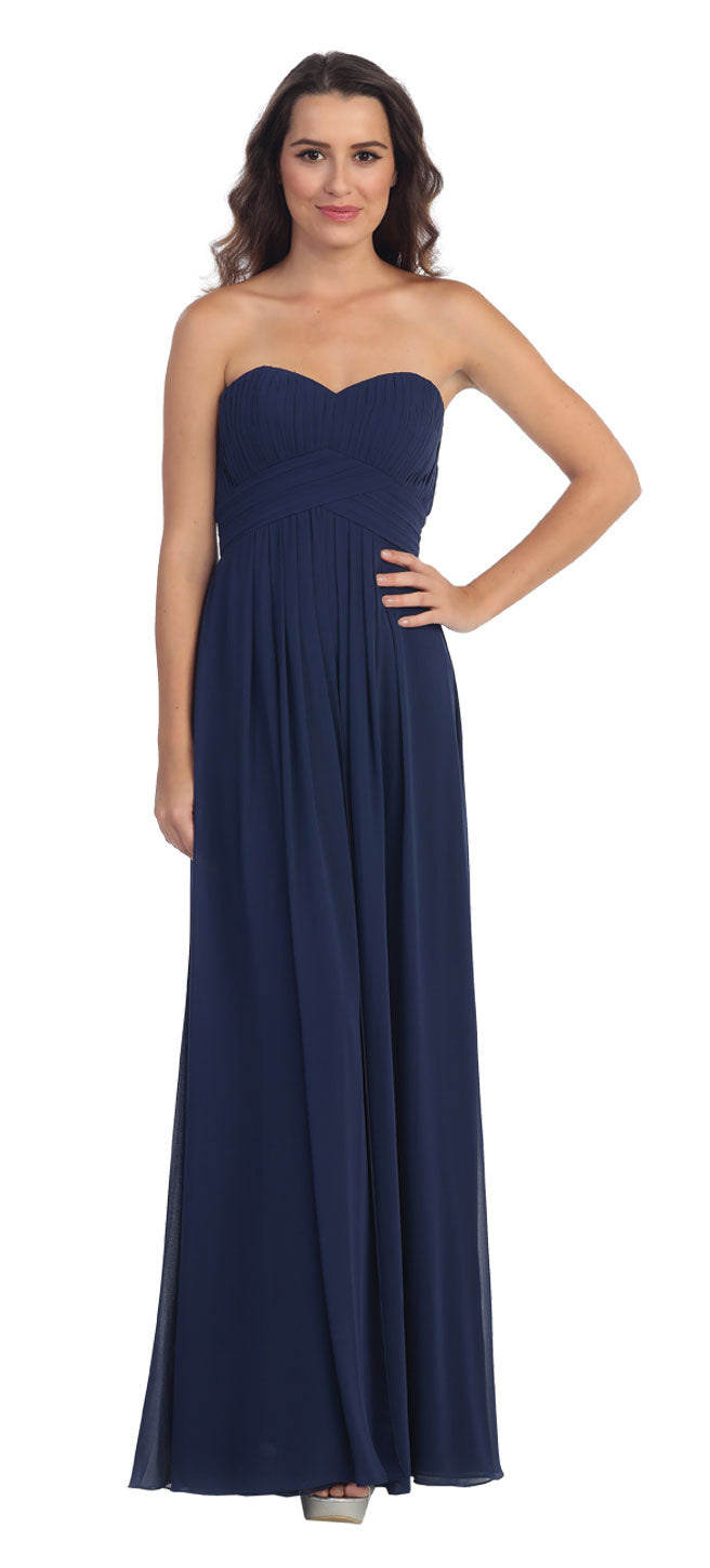 Image of Strapless Pleated Bodice Long Formal Bridesmaid Dress in Navy