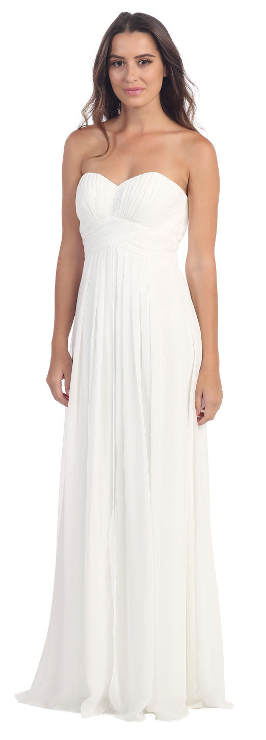 Image of Strapless Pleated Bodice Long Formal Bridesmaid Dress in Off White