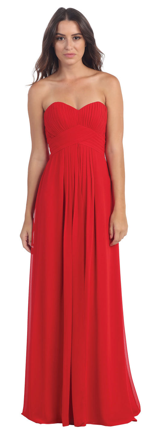 Image of Strapless Pleated Bodice Long Formal Bridesmaid Dress in Red
