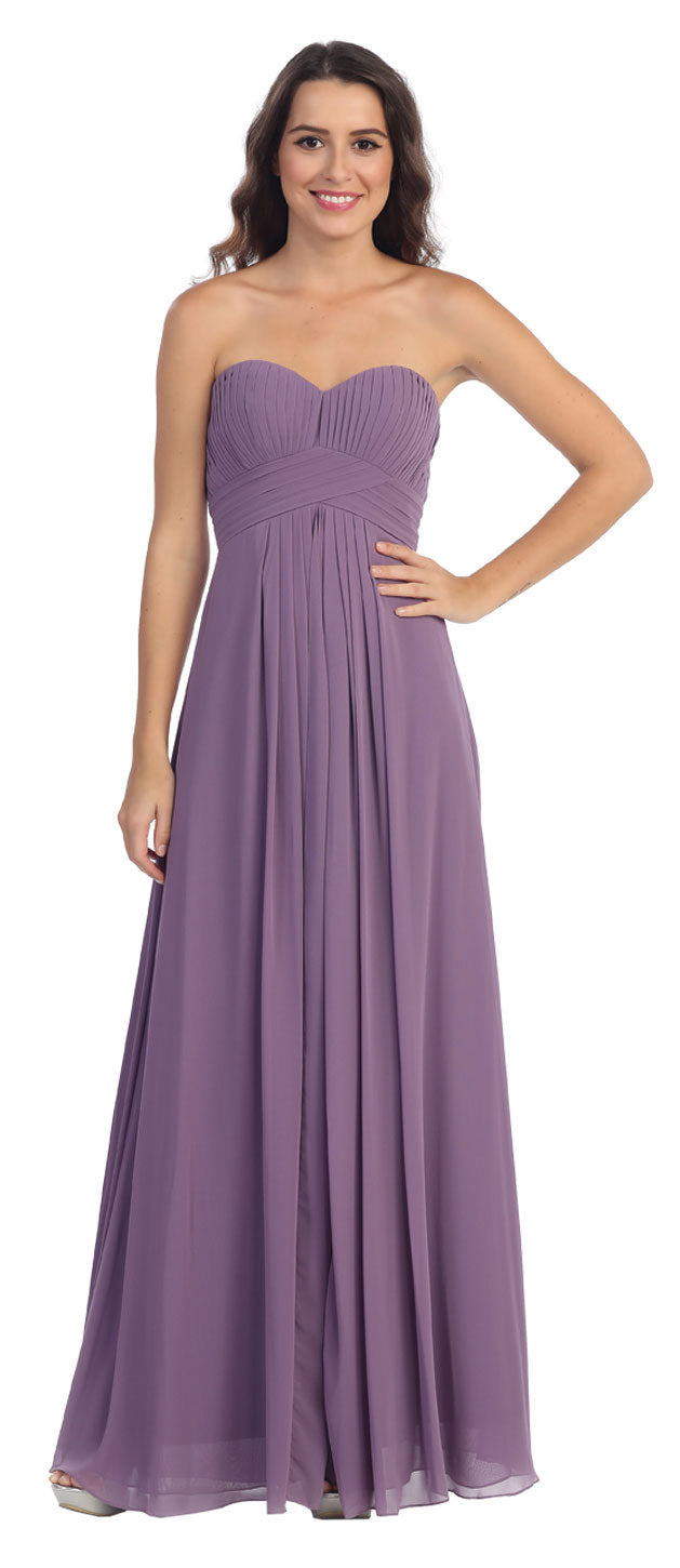 Main image of Strapless Pleated Bodice Long Formal Bridesmaid Dress