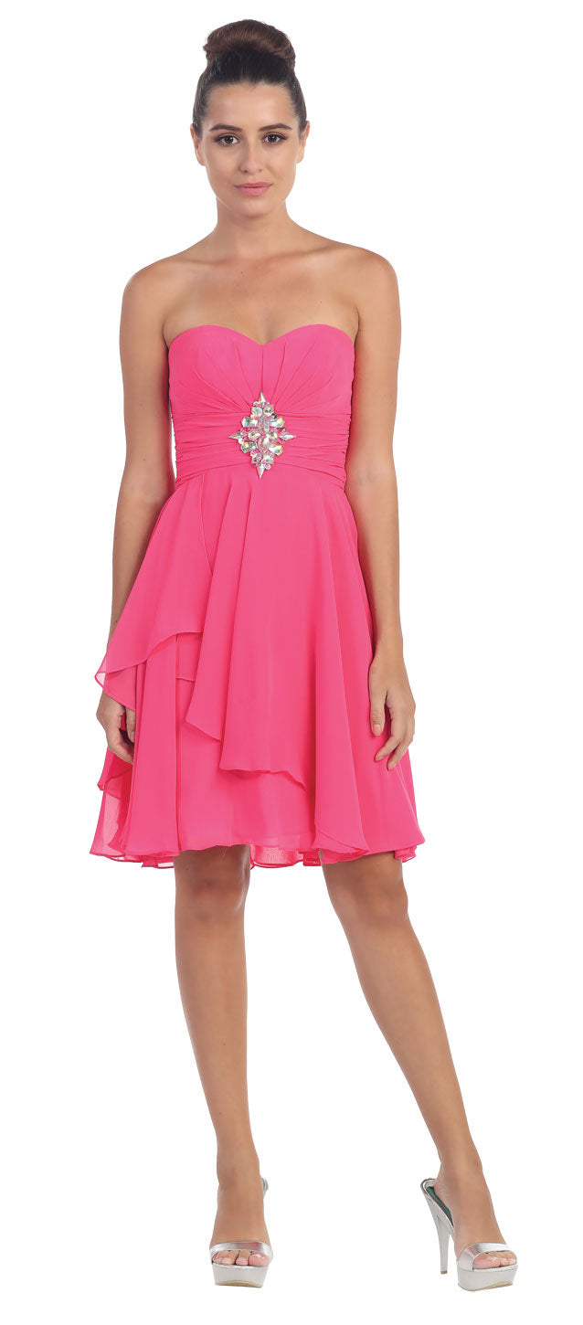 Main image of Strapless Ruched Short Formal Bridesmaid Party Dress
