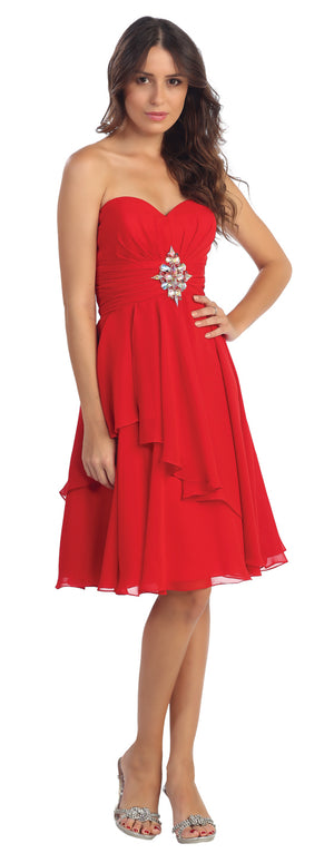Image of Strapless Ruched Short Formal Bridesmaid Party Dress in Red