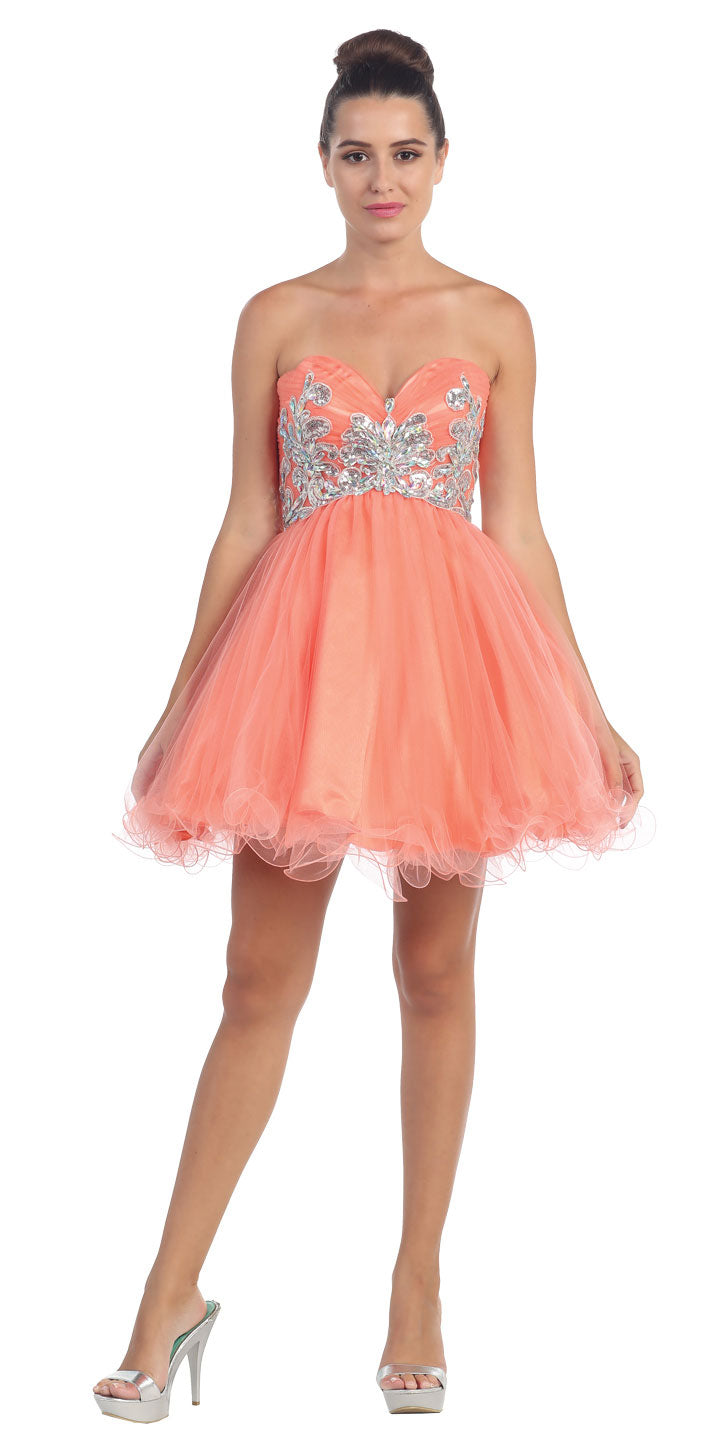 Main image of Strapless Floral Beaded Bust Short Tulle Party Dress