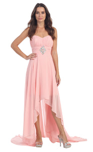 Image of Strapless Rhinestones Waist Hi-low Formal Party Dress  in Blush