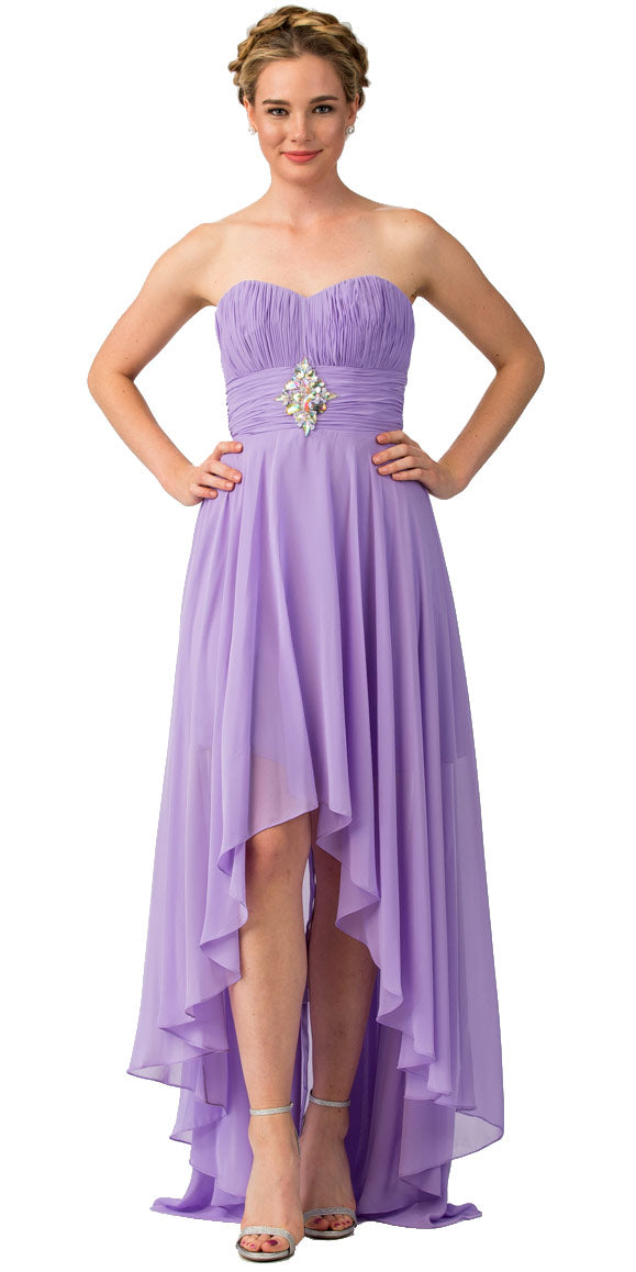 Main image of Strapless Rhinestones Waist Hi-low Formal Party Dress