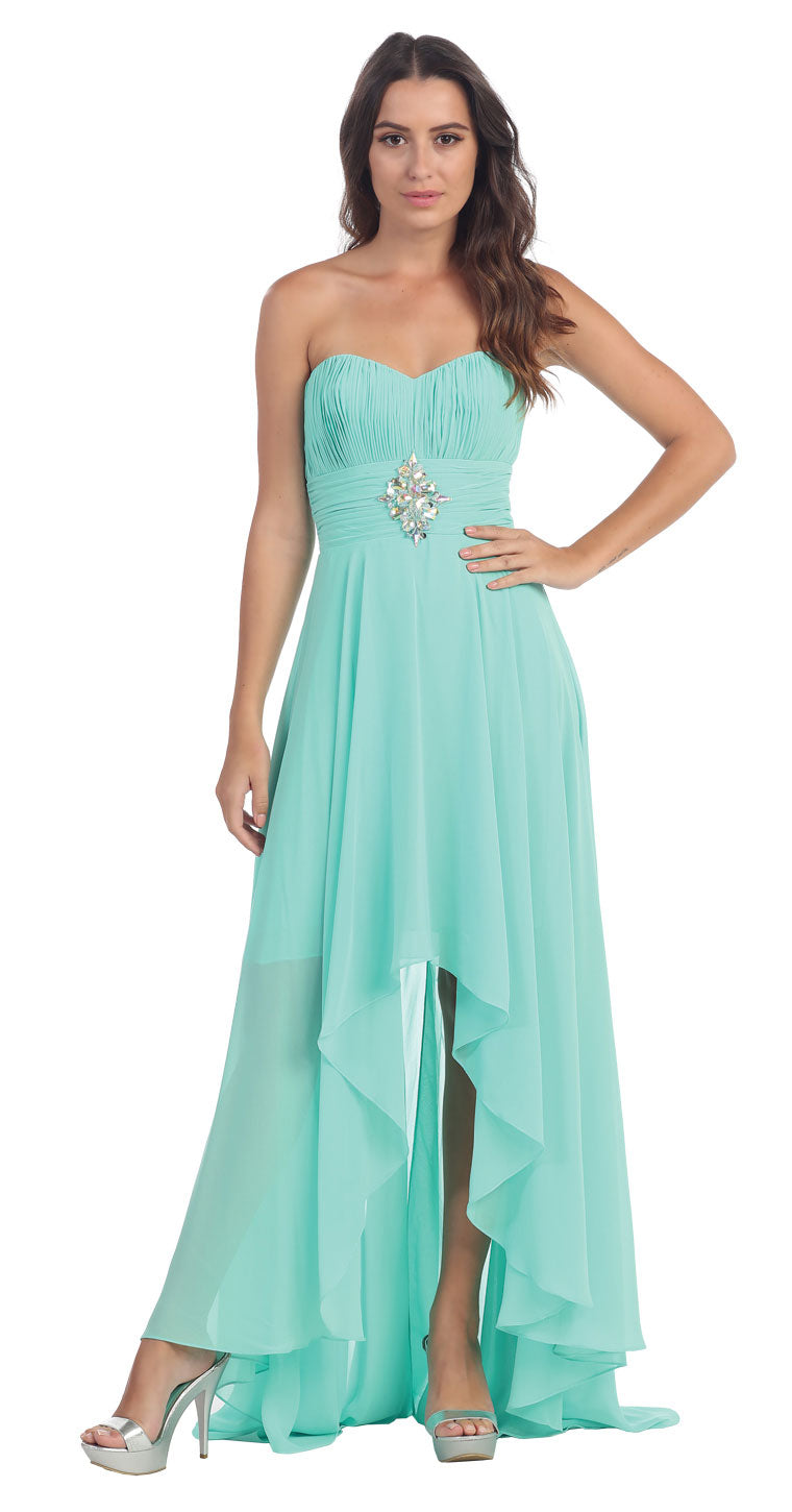 Image of Strapless Rhinestones Waist Hi-low Formal Party Dress  in Mint