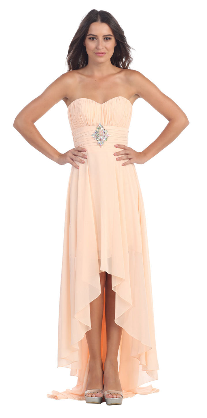 Image of Strapless Rhinestones Waist Hi-low Formal Party Dress  in Peach
