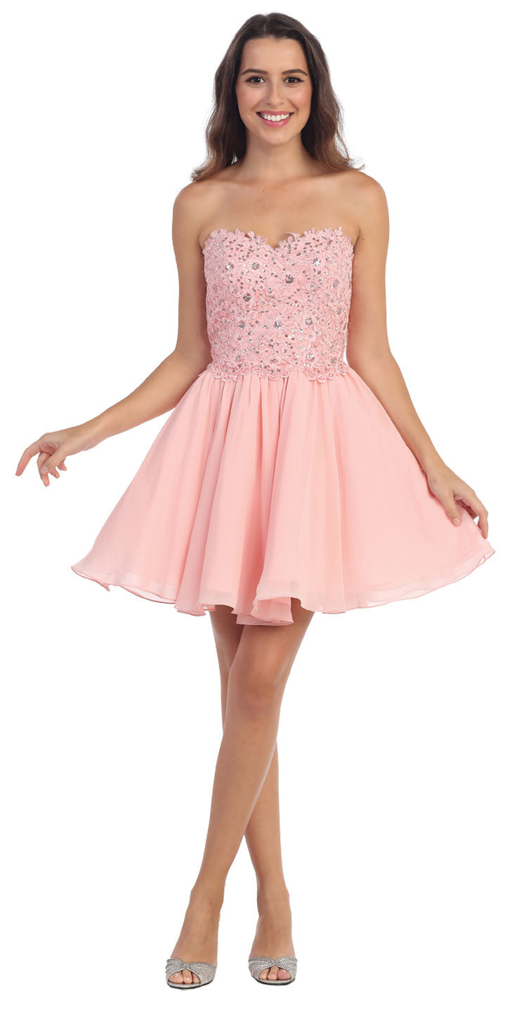 Image of Strapless Lace & Beads Bodice Short Party Bridesmaid Dress in Blush