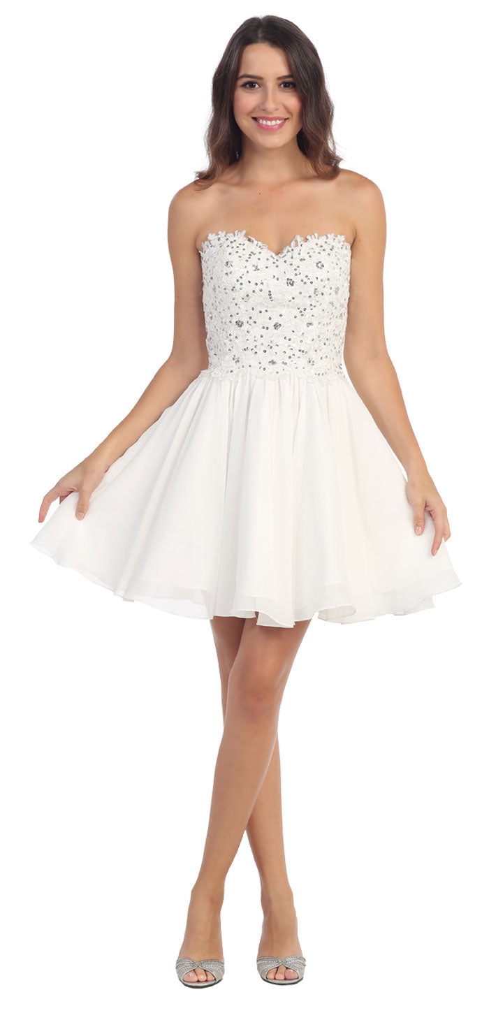 Image of Strapless Lace & Beads Bodice Short Party Bridesmaid Dress in Ivory