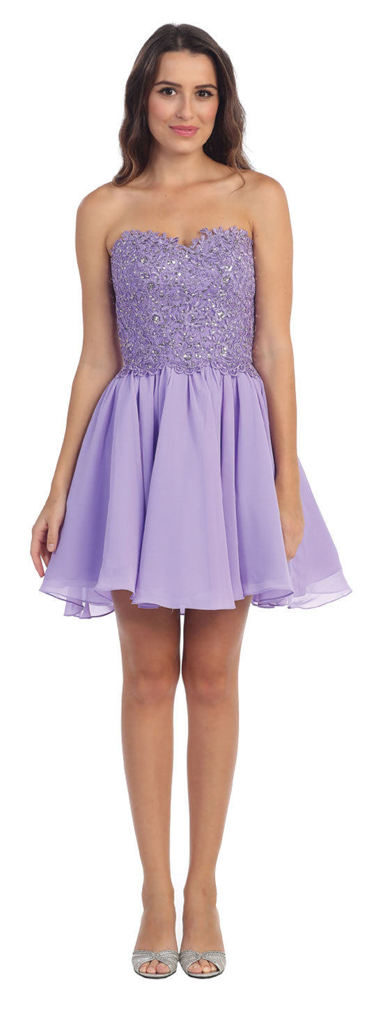 Main image of Strapless Lace & Beads Bodice Short Party Bridesmaid Dress