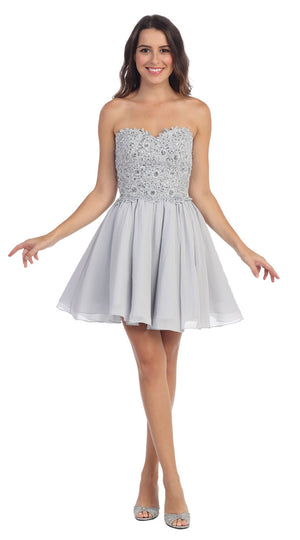 Image of Strapless Lace & Beads Bodice Short Party Bridesmaid Dress in Silver